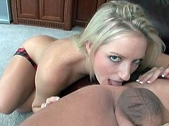 Skinny blonde babe Kylee is ready to give her first rimjob ever! First she sucked a big cock and then licked some asshole and got hers licked too!