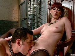 The femdom action has Maitresse Madeline dominating a guy, making him lick her pussy, jerking him off all while he's tied.