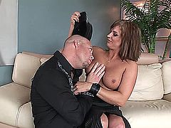 Brooke Belle is a beautiful dark blonde haired MILF real estate agent waiting for a prospective buyer.  After he�s arrived and she�s shown him the house, she wants to know what it will take to close the deal.  Soon, he's playing with her big tits, then she�s sucking and deep throating his hardened rod, after which, cock and pussy get together for some serious fucking to conclude the deal when he cums on her ass and she cleans his cock with her tongue.
