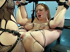 A gorgeous blonde fucking slut gets tied up tight and toyed with by another chick in this electrifying sex scene right here!