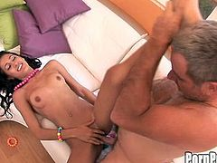 Sweet Amia Miley enjoys older guy licking and fucking her twat during hardcore scene