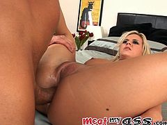 Take a look at this blonde's perfect shaved pussy and tight asshole beofre she's eaten out and getting her anus stuffed by this guy's thick cock.