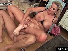 Busty blonde mature tramp riding pecker and playing with dildo