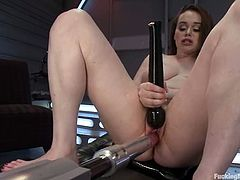 Hot brunette slut Tessa Lane spreads her legs wide open and welcomes a fucking machine in her snatch. She gets it drilled remarcably well and moans sweetly in pleasure.