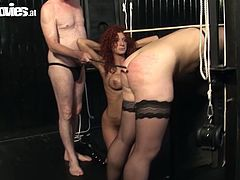 One curly red head sucks dick with a great pleasure and one blonde enjoys doggy style fuck in awesome sex tube video produced y Fun Movies porn site.