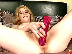 Blonde Allie James bares it all as she plays with her vagina