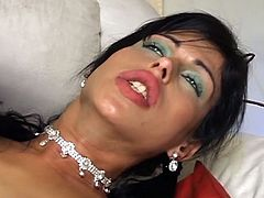 Latina shemale tranny stuffed with cock that is as hard as iron to satisfy her lewd whims to the maximum before the camera.