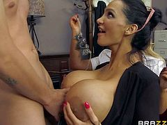 Lusty blonde Nikky Benz with gigantic firm balloons and black haired whore Amy Anderssen get on knees and give mind blowing blowjob session to Jessy Jones while her films everything