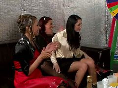 Extremely hot gangbang party with mess-loving party girls