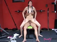 Kinky brunette with petite ass forgets about training, cuz she gonna be fucked hard. Torrid nympho bends over the gym equipment and gets fucked from behind by fat gaffer. Then slut gonna continue sex right on the floor to gain lots of delight at once.