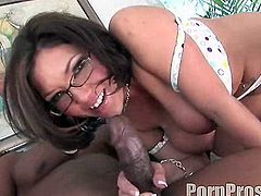 Horny babe with huge tits Claire Dames feels amazing fucking in interracial hardcore