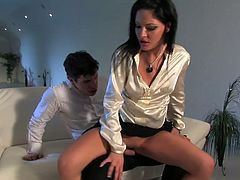 She takes his cock out and sends it deep in her throat. After she sits on his meaty erected shlong and rides it intensively. Go for the hot and steamy clothed sex tubе video from Tainster network.