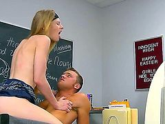 Pale hot ass blonde schoolgirl Avril Hall with natural boobs and tight firm ass rides on turned on stud with rock hard pecker like crazy and gets boned balls deep.