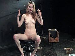 This kinky slim bitch is gonna get fucking stuffed by a fucking machine in this perverted bondage scene, check it out right here!