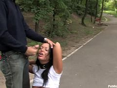 Whore gagged and bound outdoors in bdsm scene