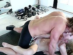 Petite pale blonde hottie Avril Hall with fit sexy body and natural boobies gets naked for tall horny Evan Stone with long shaft and fucks with him on the floor in gym.