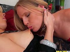 These extremely seductive blondes with nice asses have so much in common and they enjoy hanging out together. The girls can lick and suck each other's swollen nipples for hours! Get ready for the best lesbian sex scene ever!