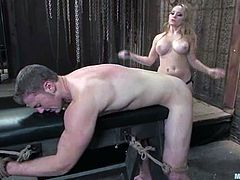 See how the busty Aiden Starr strapon fucks a dude in a BDSM femdom video with lots of kinky stuff to behold.