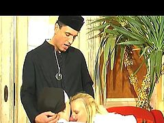 This nun and the priest are shocked to find out, that a blonde schoolgirl spends a lot of time with her legs spread wide. They can't tolerate such a treatment, but the blonde girl is beautiful and they make a small compromise this time. The priest is getting his cock sucked by the blonde and then fucks the nun