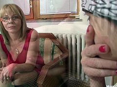 These are nasty grannies wearing sassy clothes. They both strip exposing saggy boobs. Later they suck dildo showing hot to suck cock.