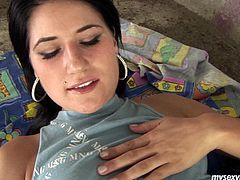 Dirty wench Lucy is brunette porn model with perky natural tits. Unfortunately for her she has got ugly face though nobody here cares about that. Because she is gotta have is fine body shape and pretty pussy. So she shows her jewels close-up teasing you. Then she sucks the dildo like it is a real cock. She imitates deepthroat blowjob. Then she sends the tool in her pussy hole throbbing actively.