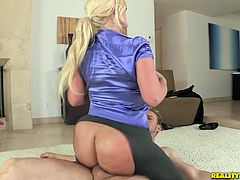 Lucky dude is ready to fuck the shit out of Julie Cash and to smack her big booty, while she is on top of his big young shlang!