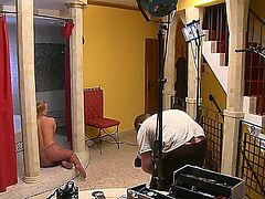 Precious tight blonde babe Silvia Saint is excitingly posing and demonstrating her perfectly shaped body and shaved pussy at front of the camera.