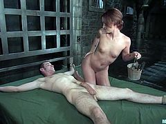 The kinky Sara Faye is going to ride this dude's cock after she had tied him up, fucked his ass with a strapon and had face sit and tortured him.