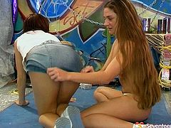 These are attractive girls with stunning fresh bodies. They kiss passionately while stripping one another slowly. Red haired bad gets her pussy licked actively facesitting her lover.