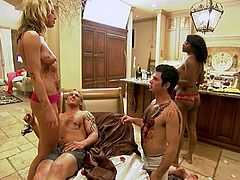 See an assortment of brunettes, blondes and ebony belles setting a wild orgy with their men in this spectacularly sexy playboy vid.