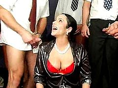 Black-haired gets gangbanged. After the fuck they piss all over her.