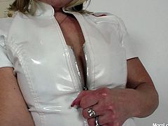 Damn, these are wicked grannies with filthy minds. Olivia is wearing nurse uniform pleasing Terezie with fingers. She rubs her bearded disgusting cunt with oil. She opens pussy folds showing ugly cave of dirty slut in close-up shot.