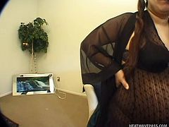 Ibeth is a filthy whore that likes getting fucked by black or white guys as well. This time Ibeth receives both and after she made the guys horny with her huge belly and those big lips she's getting stuffed with dick. While the black dude fills her mouth the white one slides his white dick in her hairy cunt