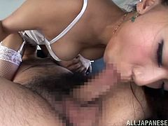 She looks so gorgeous in that erotic undies. Honey sucks her man's dick and then spreads her legs and tries in doggy style as well. AT the end she swallows some cum of him!