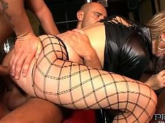 Alina is a blonde whore fucked by one black guy and two white guys. She has all her holes filled at the same time.