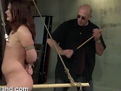 Wasteland dungeon master ties up submissive amateur. She gets all her body punished and whipped she can't move and asks for mercy