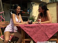 Insatiable brunette whores chat while sitting by the table outdoors. Later they start oral stroking each other's perky tits before getting down to stinky assholes to lick them rapaciously.
