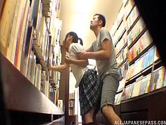 This disgusting creep is watching young schoolgirls in the bookstore and jacking his dick. He sees a girls than catches his eye and comes up to her from behind, lifts up her skirt and fucks her right then and there.