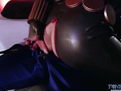 Watch the perverse and wild redhead Black Widow (played by Brooklyn Lee) as she sucks and rides Hawkeye's dong balls deep into a breathtaking explosion of pleasure.