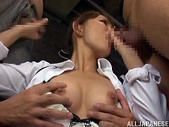 This horny and lusty Japanese siren Emiri Okazaki gets naked and makes this man drool on her wet beaver! Honey is so fucking lusty and so damn desirable!