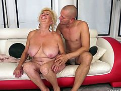 Well, there's no doubt that this short haired blond old bitch is the way too voracious. Lewd old whore with droopy pale boobs and huge ass gonna be pleased with sex toys on the couch. Fat ufly slut spreads legs to get her old cunt drilled with a dildo.