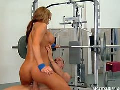 Nikki Sexx is having issues with her exercise equipment. Justice Young helps her out, but then things get heated and they end up grinding and pounding each other on the fitness machines.