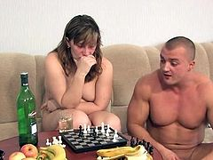 Drunken old lass backdoor copulated for strip chess loss