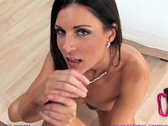 India Summer fingers her snatch and gives a terrific blowjob