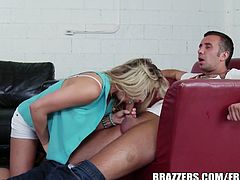 Blonde hottie Bailey Blue gets super naughty after playing the ouija. Babe gives head and starts riding this well hung guy's thick cock, it's a hot and wild banging that you can't miss!