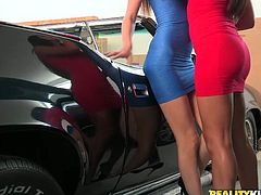 Two adorable babes kiss passionately in the car. They burn with desire and continue lesbian plays indoor. Watch stunning brunettes are fondling each other right now.