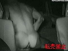 Amateur couple gets kinky inside this car! They get naked and fuck hard and they know they're being filmed!