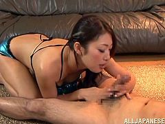 Stunning Japanese girl in lingerie licks guy's nipples and gives skillful blowjob. After that he cums on her pussy.