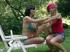 Check a pigtailed blonde teen belle playing hot lesbian games with her boyfriend's mom in this hot outdoors vid. Then wait to see what happens when he finds out!