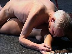 Beauty And The Senior sex clip provides you with a skinny pale brunette. Well, her ass is ok, even though too pallid. Wondrous bitch gonna have sex with a spoiled gaffer. Dirty-minded nympho sucks his dick for sperm and begs old man to fuck her wet cunt from behind right on the floor.
